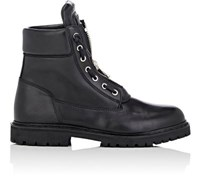 Balmain Men's Center Zip Leather Ranger Boots Black