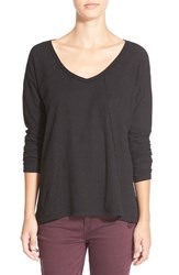 Junior Women's Sun And Shadow V Neck Thermal Swing Top Black