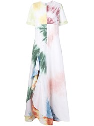 Rosie Assoulin Tie Dye Ruffle Dress White