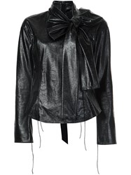 Marc Jacobs Faux Leather Blouse Black