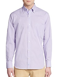 Tailorbyrd Regular Fit Micro Gingham Check Cotton Sportshirt Lilac