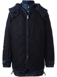 Sacai Layered Puffer Coat Blue