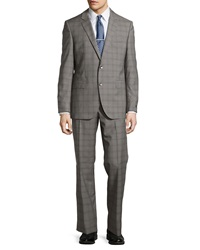 Hugo Boss James Two Piece Check Print Suit Gray