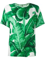 Dolce And Gabbana Banana Leaf Print Blouse Green