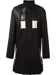 Rick Owens Panelled Funnel Neck Coat Black