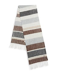 Yves Saint Laurent Striped Wool And Cashmere Scarf Brown Multicolor