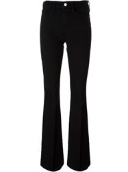 Frame Denim Pleated Flared Jeans Black