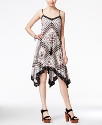 American Rag Printed Handkerchief Hem Dress Only At Macy's Black Combo
