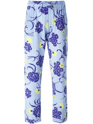 P.A.R.O.S.H. Floral Print Trousers Blue