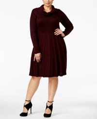 Calvin Klein Plus Size Cowl Neck Sweater Dress Aubergine