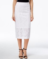 Alfani Prima Lace Pencil Skirt Only At Macy's Bright White
