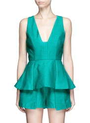 C Meo Collective 'The Night' V Neck Pleated Peplum Top Green