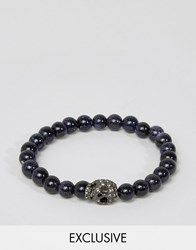 Simon Carter Goldstone Beaded Bracelet With Black Diamon Swarovski Skull Exclusive To Asos Black