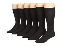 Ecco Socks Dress Wool Rib Midcalf Black Men's Crew Cut Socks Shoes
