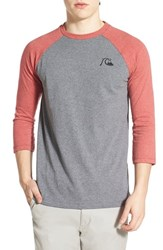 Men's Quiksilver 'Bubble Rio' Raglan Baseball T Shirt American Beauty