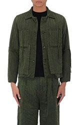 Craig Green Men's Silk Quilted Shirt Jacket Green