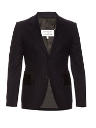 Maison Martin Margiela Single Breasted Stitched Panel Wool Blazer Navy