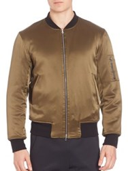 Ovadia And Sons Reversible Satin Silk Bomber Jacket Black Olive