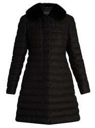 Moncler Gamme Rouge Detachable Fur Collar Quilted Cashmere Blend Coat Black