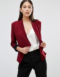 Ax Paris Waterfall Cropped Jacket Wine Red