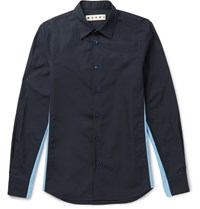 Marni Slim Fit Contrast Panelled Cotton Shirt Blue
