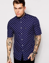 Religion Short Sleeve Shirt With All Over Flamingo Print With Button Sleeve Blue