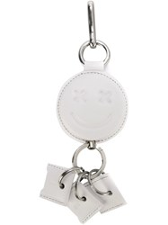 Alexander Wang Smiley Retractable Keyring White