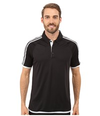 Adidas Climachill 3 Stripes Competition Polo Black White Men's Clothing