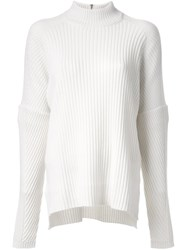 Muveil High Neck Ribbed Jumper White
