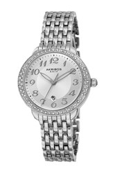 Akribos Xxiv Women's Quartz Swarovski Crystal Bezel Alloy Bracelet Watch Metallic