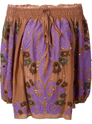Emilio Pucci Embroidered Off The Shoulder Tunic