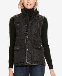 Polo Ralph Lauren Leather Trim Quilted Vest Polo Black