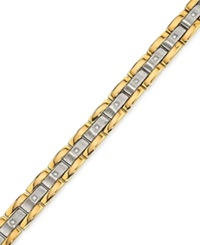 Macy's Men's Diamond 1 4 Ct.T.W. Bracelet In Gold Plated Stainless Steel Two Tone