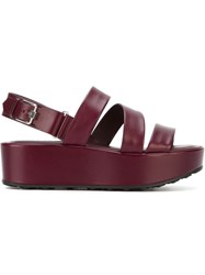 Tod's Platform Sling Back Sandals Red
