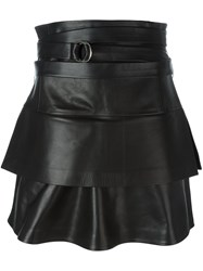 Iro Belted Leather Skirt Black