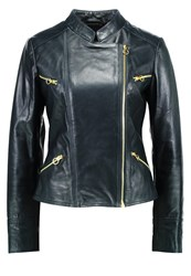 Pinko Numbers Leather Jacket Green Dark Green