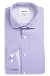 Ted Baker Men's Big And Tall London 'Dequan' Trim Fit Texture Dress Shirt Purple