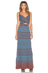 M Missoni Zig Zag Cut Out Maxi Dress Blue