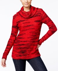Kensie Space Dyed Cowl Neck Sweater Red Combo