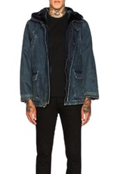 Yves Salomon Denim Parka With Blue Lamb Fur In Blue