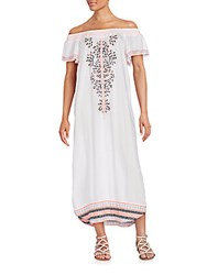 Saks Fifth Avenue Embroidered Off The Shoulder Maxi Dress White