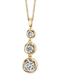 Sirena Diamond Three Stone Drop Pendant Necklace 1 2 Ct. T.W. In 14K Gold Or White Gold Yellow Gold