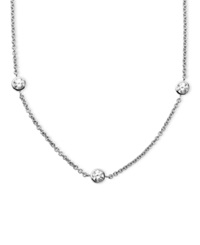 Arabella Sterling Silver Necklace White Round Cut Swarovski Zirconia 7 Station Necklace 3 1 6 Ct. T.W. Clear