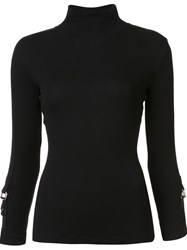 Harmony Paris 'Timea' Buckle Sleeve T Shirt Black
