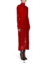 Nina Ricci Velvet And Metallic Knit Long Sleeve Dress Bright Red