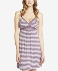 Jessica Simpson Nursing Lace Nightgown Plum Gray Stripe