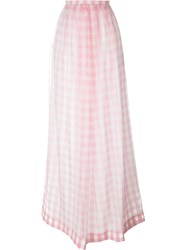 Rochas Checked Maxi Skirt Pink And Purple