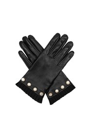 Gucci Pearl Embellished Leather Gloves Black