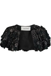 Valentino Cropped Faux Leather Appliqued Silk Organza Jacket Black