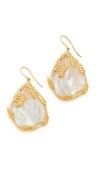 Aurelie Bidermann Francoise Earrings Ivory Gold